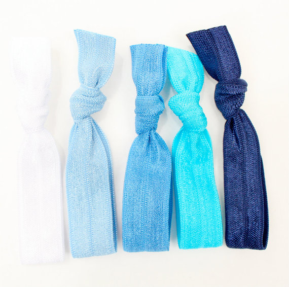Elastic Hair Ties (5) - Emi Jay Like Stretchy Hair Bands - Preppy Fabric 2d455c8f42e